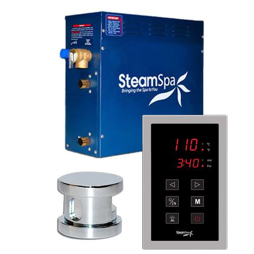 Steam Spa SteamSpa Oasis 4.5 KW QuickStart Steam Bath Generator Package in Polished Chrome