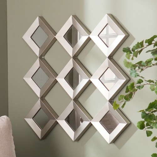 Upton Home Diamante Mirrored Squares Wall Sculpture