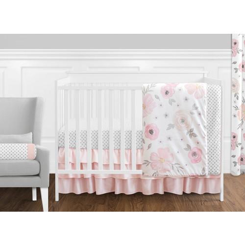 Sweet Jojo Designs Pink and Grey Watercolor Floral 11 Piece Crib Bedding Set
