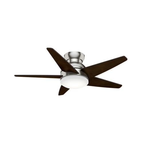 Casablanca Isotope Brushed Nickel 44-inch Fan with 5 Espresso Veneer Blades - Low profile with cased white glass & wall control