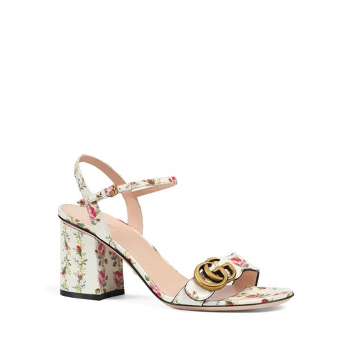 GUCCI Marmont Floral Print Open Toe Sandals