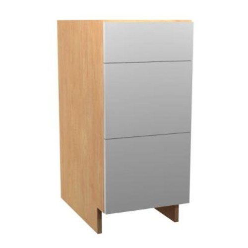 Home Decorators Collection Salerno Ready to Assemble 12 x 34.5 x 24 in. Base Drawer Cabinet with 3 Soft Close Drawer in Polar White