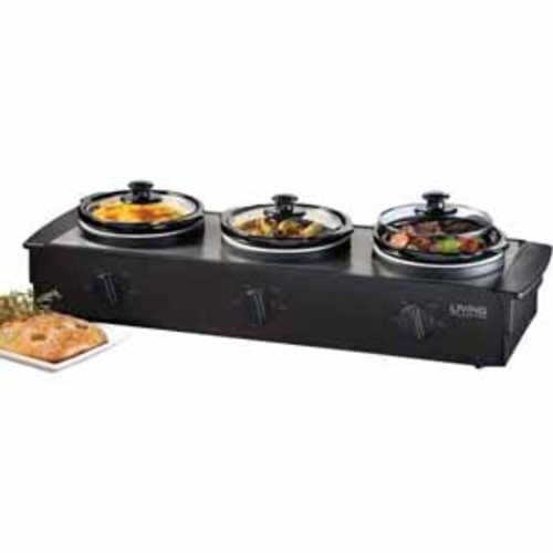 Nostalgia Living Collection 3-station Slow Cooker Buffet - Black Stainless Steel