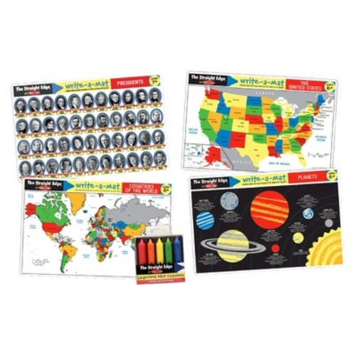 Melissa & Doug Advanced Subject Skills Placemat Set: United States, Presidents, Countries of the World, and Planets 8pc