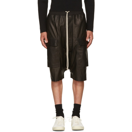 RICK OWENS Black Leather Pods Cargo Shorts
