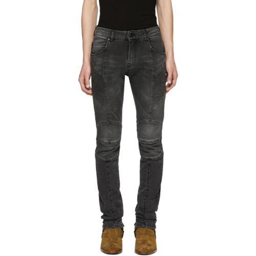 PIERRE BALMAIN Black Faded Biker Jeans