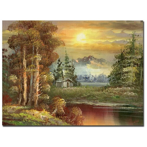 Rio 'Sunset in Yellowstone' Gallery-wrapped Canvas Art
