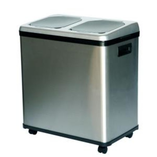 iTouchless 16 Gal. Dual-Compartment Stainless Steel Touchless Recycling Bin