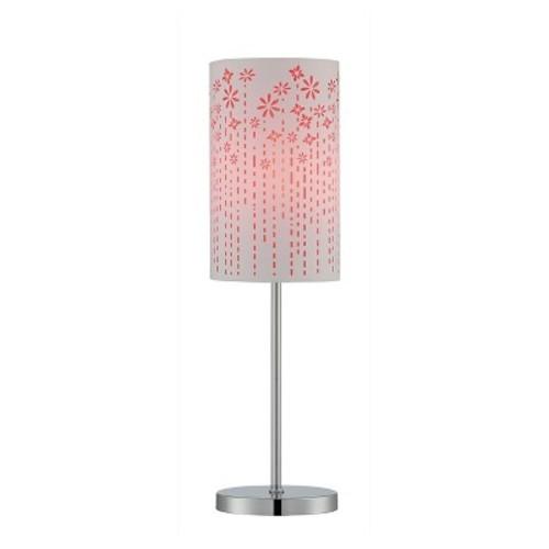 Poppy 1 Light Table Lamp - Chrome/Red