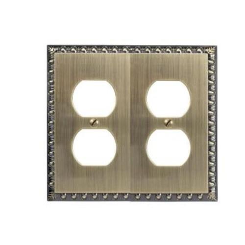 Amerelle Renaissance 2 Duplex Wall Plate - Brushed Brass