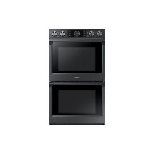 Samsung 30 in. Double Electric Wall Oven, Self-Cleaning with Steam Cooking and Dual Convection in Black Stainless