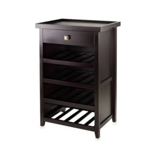 Winsome Trading Zillah Wine Cabinet with Removable Tray in Espresso