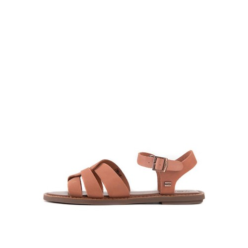 The Zoe Leather Sandals in Brown Leather