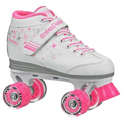 Roller Derby Girls' Sparkle Quad Skate with Lighted Wheels - White/Pink