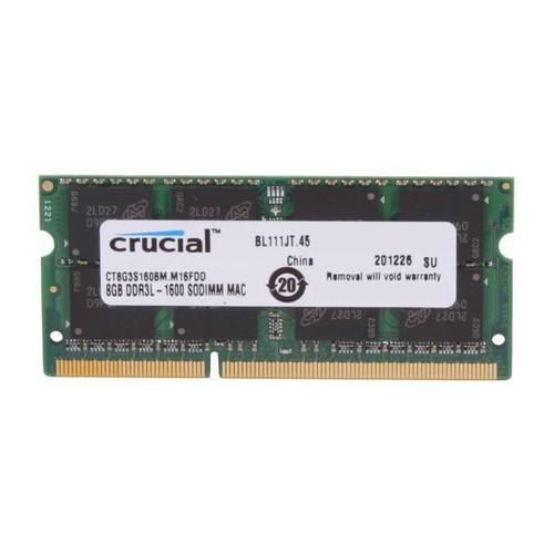 Crucial 8GB (1 x 8 GB) DDR3 SDRAM Memory Module - 8 GB (1 x 8 GB) - DDR3 SDRAM - 1600 MHz DDR3-1600/PC3-12800 - 1.35 V - Non-ECC - Unbuffered - 204-pin - SoDIMM