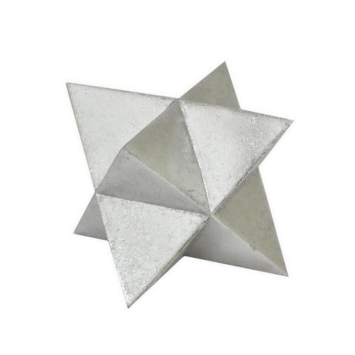 THREE HANDS 5.5 in. x 5.5 in. Silver Resin Star Tabletop Decor in Silver