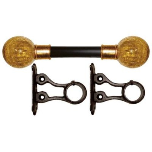 The Artifactory 7 ft. Fixed Length 1 in. Dia. Gilded Metal Drapery Rod Set with Amber Crackle Finial
