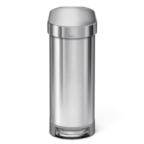 simplehuman 45-Liter Fingerprint-Proof Brushed Stainless Steel Slim Step-On Trash Can