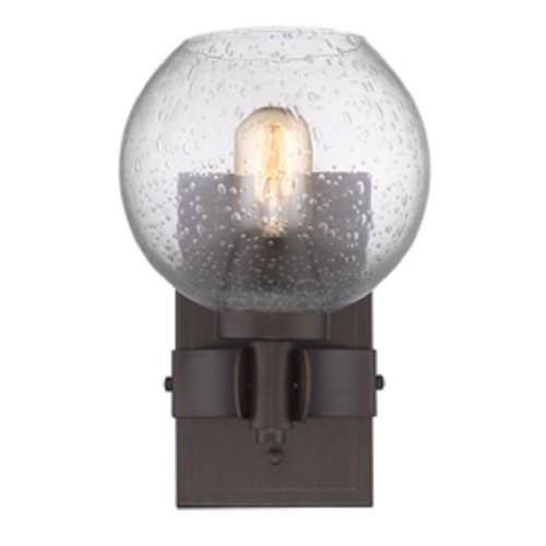 Golden Lighting #4855-1W RBZ-SD Galveston Rubbed-bronze Finish Steel/Seeded Glass 1-light Wall Sconce