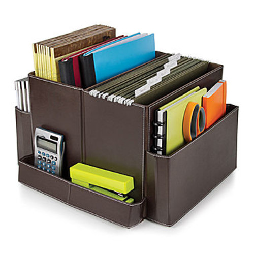 Brown Vinyl Folding Desk Organizer