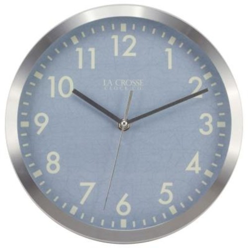 La Crosse Technology 10 in. H Round Silver Metal Analog Wall Clock with Blue Dial