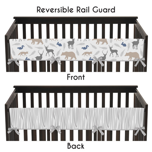 Sweet Jojo Designs Woodland Animals Collection Long Crib Rail Guard Cover