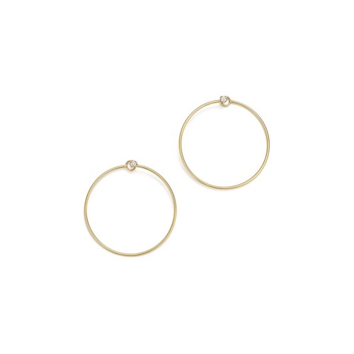14K Yellow Gold Diamond Stud Front-Back Hoop Earrings
