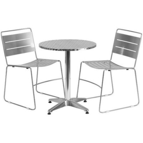 Flash Furniture 27.5 in. Round Aluminum Indoor-Outdoor Table with 2 Metal Stack Chairs