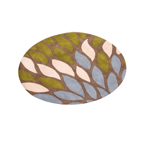 Alliyah 'A Colorful Palette' Flower Petals Tobacco Brown Organic Round Wool Rug (6')
