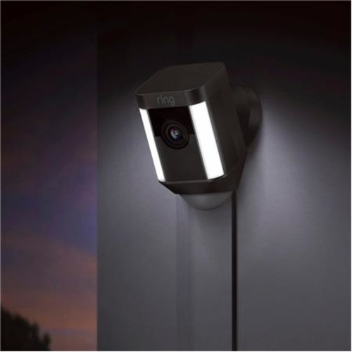 Ring Indoor/Outdoor 1080HD Wired Security Camera with LED Spotlight, Black