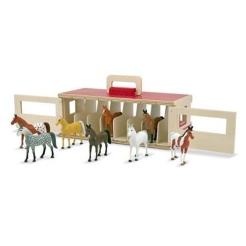 Melissa & Doug Take-Along Show-Horse Stable Play Set With Wooden Stable Box and 8 Toy Horses [Standard Version]