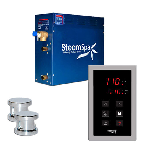 Steam Spa SteamSpa Oasis 10.5 KW QuickStart Steam Bath Generator Package in Polished Chrome