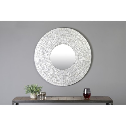 East At Main's Guymon Silver Natural Shell Capiz Round Accent Mirror