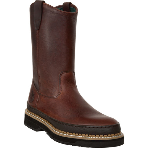 Georgia Men's Giant 9in. Wellington Pull-On Work Boots - Soggy Brown, Size 11 Wide,