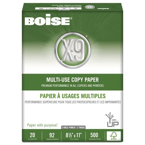 Boise CASOX9001P X-9 Multi-Use 3-Hole Copy Paper, 92 Bright, 20lb, 8-1/2 x 11, White, 5000/Carton
