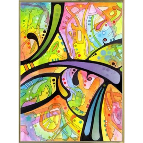 East Urban Home 'Abstract' Graphic Art Print; Gold Metal Framed