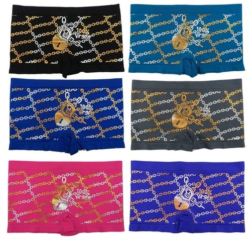 Junior Teenage Girls 6 Pack Seamless Chains Golden Foil Print Boyshorts Panties