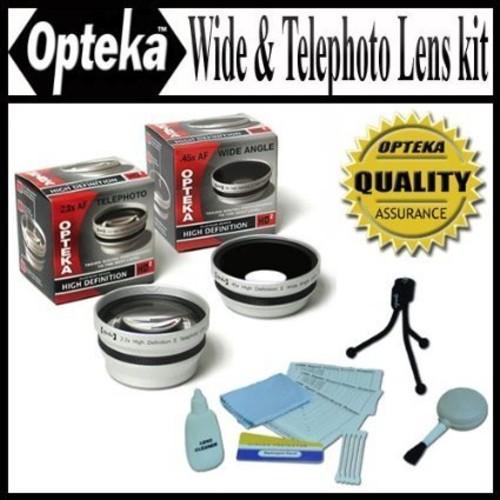 Opteka 0.45x Wide Angle & 2.2x Telephoto HD2 Pro Lens Set for Canon VIXIA HV30, HG10, & HV20 Digital Camcorders -