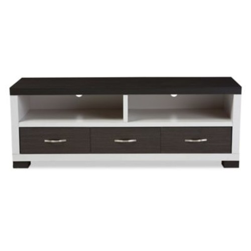 Baxton Studio Oxley 59-Inch TV Cabinet in White and Dark Brown