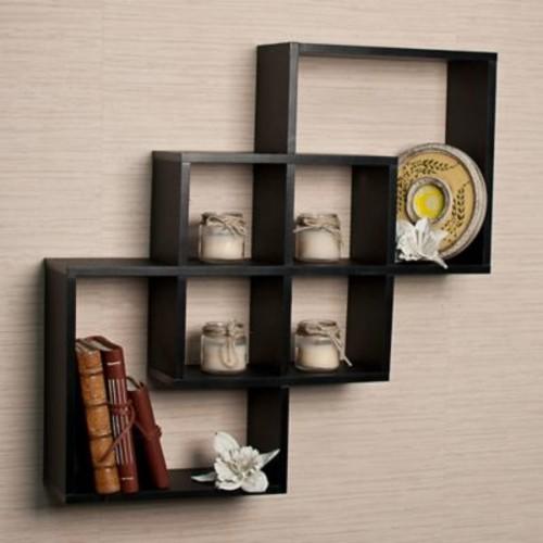Varick Gallery 3 Intersecting Decorative Accent Shelf; Matte Black