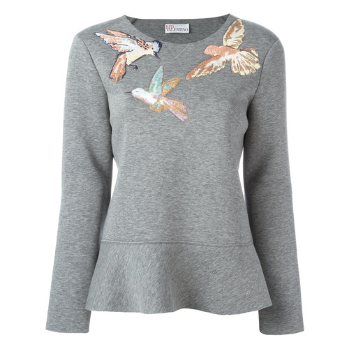 RED VALENTINO Embroidered Bird Sweatshirt