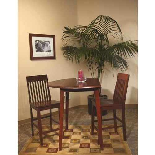 Office Star Westbrook Solid Wood and Veneer Pub Table with Drop Leaf Top, Amaretto Finish