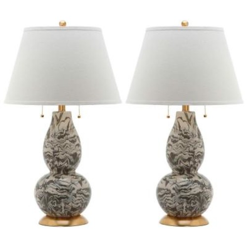 Safavieh Color 28.5 in. Grey and White Swirls Glass Table Lamp (Set of 2)
