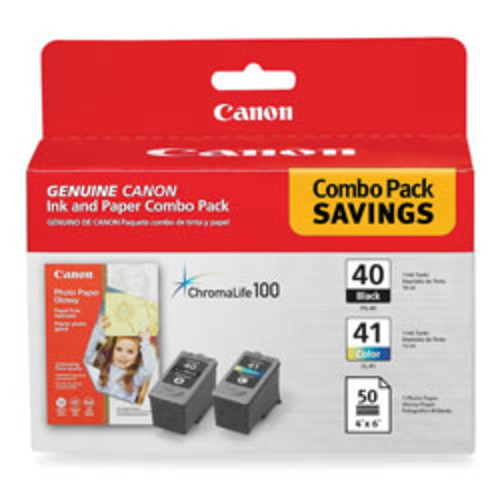 Canon PG-40/CL-41 ChromaLife 100 Black/Color Ink Cartridges & 50 Sheets Of Glossy Photo Paper (0615B009)