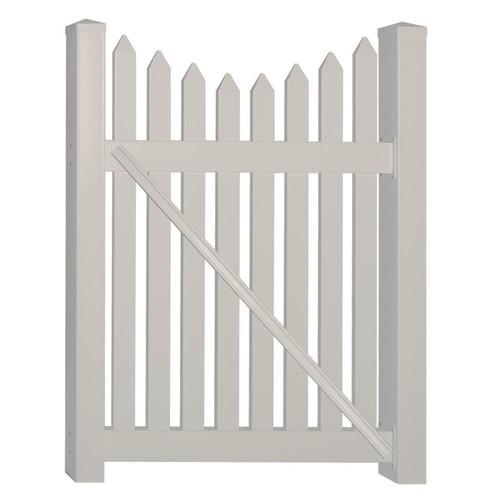 Weatherables Richmond 4 ft. W x 4 ft. H Tan Vinyl Picket Fence Gate