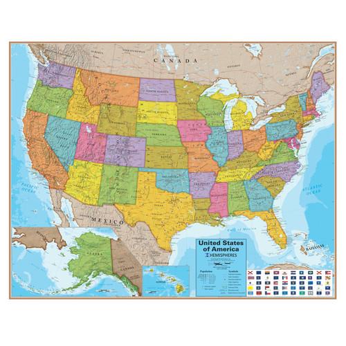 Round World Hemispheres Blue Ocean Series United States Wall Map
