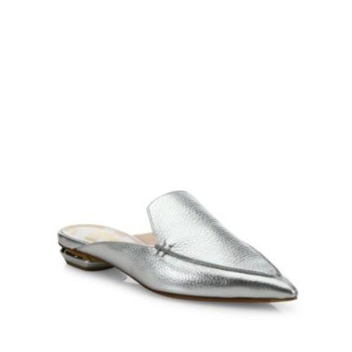 NICHOLAS KIRKWOOD Beya Metallic Leather Flat Mules