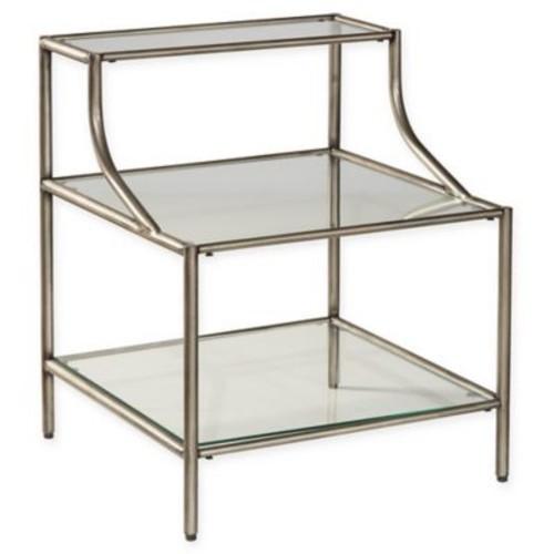 Hillsdale Corbin Accent Table in Silver with Black Rub