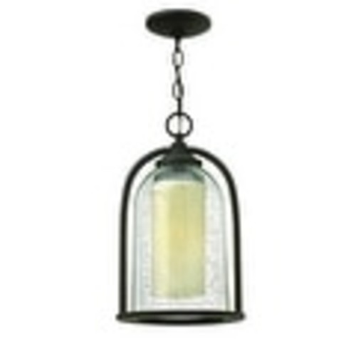 Hinkley Lighting 2612-LED 1 Light LED Outdoor Single Mini Pendant with Clear Seedy Glass Shade from the Quincy Collection [option : Oil Rubbed bronze]