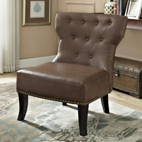 Simpli Home Kitchener Tufted Accent Chair, Rustic Brown [Rustic Brown]